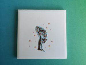 Unique handmade ceramics and pottery Sakura Sun Salutation tile forward fold