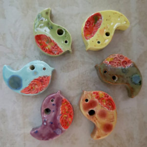 Unique handmade ceramics and pottery Handmade Ceramic Floral bird pendants