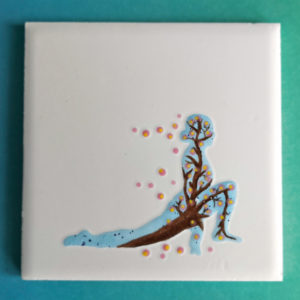 Unique handmade ceramics and pottery Sakura Sun Salutation runners lunge hand painted ceramic tile Good Karma Clay