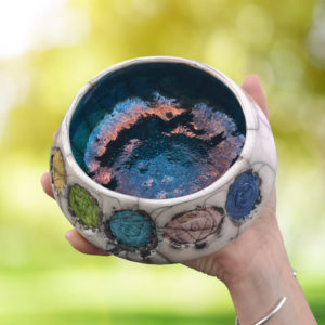 Unique handmade ceramics and pottery Raku Chakra Balance Bowl Good Karma Clay