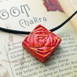 Unique handmade ceramics and pottery Root Chakra Ceramic Handmade Pendant