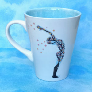 Unique handmade ceramics and pottery Sakura Sun Salutation mountain pose backbend hand painted mug