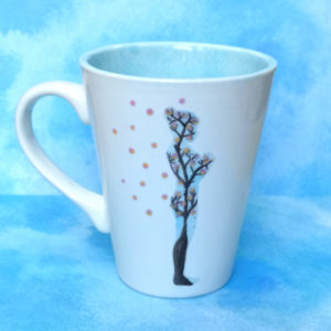 Unique handmade ceramics and pottery Sakura Sun Salutation mountain pose prayer hands hand painted mug