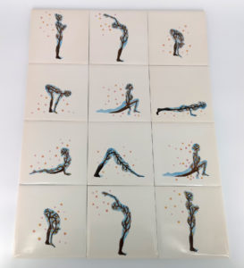 Unique handmade ceramics and pottery Sakura Sun Salutation bespoke hand painted tile collection