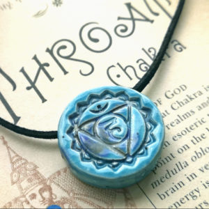 Unique handmade ceramics and pottery Throat Chakra Ceramic Handmade Pendant