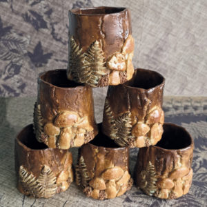 Unique handmade ceramics and pottery Handmade Ceramic Rustic Woodland cups with fungi and ferns