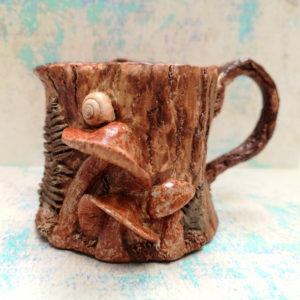 Unique handmade ceramics and pottery Handmade Ceramic Rustic Woodland Jug with fungi and ferns Front view